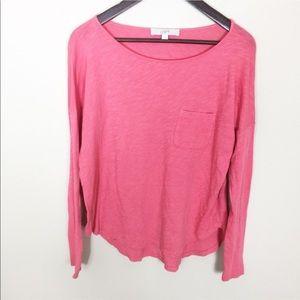 LOFT Coral Pink Knit Long Sleeve Shirt C4